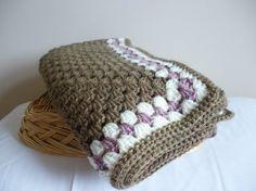 Crochet heirloom square baby blanket  girls  brown by MyBlanketBox