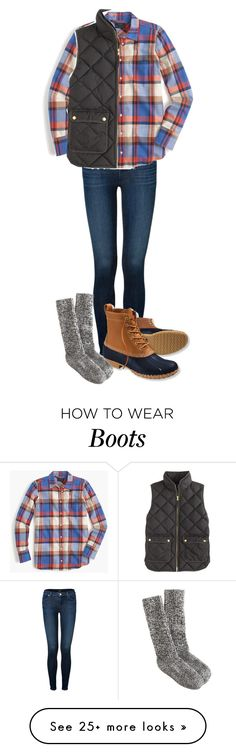 """""""Duck Boots and Vests"""" by northernprep-nl12 on Polyvore featuring J Brand, J.Crew and L.L.Bean"""