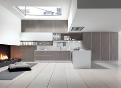 Nice Pleasant and Impressive Modern Kitchen Concept with Warm Fireplace