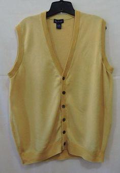 Paul Fredrick Men Silk & Cotton Button Down Vest Size M #PaulFredrick