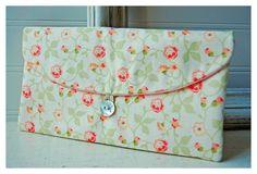 Bridesmaids Clutch purse peach pink green rose Bridal by hoganfe,