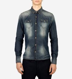 Stud Denim Button Down by Marco Nils was $140 now $70 | A nod to the wardrobe of the working man for whom they were designed, chambray shirts are now firmly entrenched in style consciousness- and for good reason. This Marco Nils button-down shirt features washed fading, a trim fit and all around rugged vibe. References classic Americana when paired with pressed chinos. | GOTSTYLE.CA