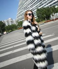 Jacket  Winter Womens White&Black Striped Faux Fur Coat Outerwear