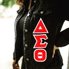 Elevate your cool girl style with this boyfriend denim jacket! Delta Greek Letter, Delta Sigma Theta Apparel, Boyfriend Jeans Outfit, Delta Girl, Sorority Letters, Cool Girl Style, Zeta Phi Beta, Custom Greek Apparel, Greek Clothing