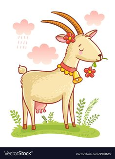 Find Cute Farm Animal Goat Colorful Illustration stock images in HD and millions of other royalty-free stock photos, illustrations and vectors in the Shutterstock collection. Thousands of new, high-quality pictures added every day. Art Drawings For Kids, Doodle Drawings, Drawing For Kids, Cartoon Drawings, Animal Drawings, Easy Drawings, Cartoon Art, Farm Cartoon, Goat Cartoon