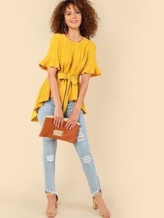 Casual Plain Top Regular Fit Round Neck Short Sleeve Pullovers Yellow Regular Length Ruffle Sleeve Dip Hem Tee with Belt Fashion Sale, Fashion Outfits, Side Split Dress, Combo Dress, Curvy Dress, Plain Tops, Casual T Shirts, Ruffle Sleeve, Types Of Sleeves