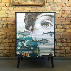Upcycled vintage retro solid wood chest of drawers decoupage