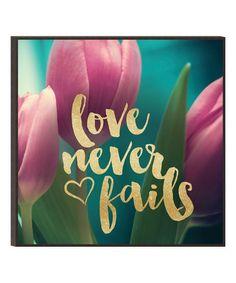 'Love Never Fails' Glitter Wall Sign #zulily #zulilyfinds