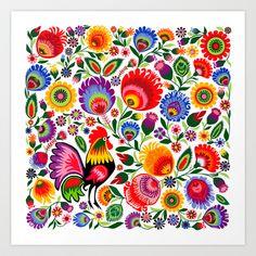 Folk rooster & flower  Art Print by Bachullus  - $20.00