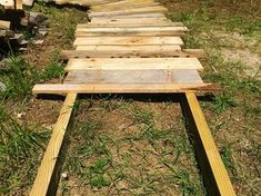 Create this simple scrap wood walkway in your yard. It's a beautiful rustic touch for any outdoor space. www.TheRefurbishe...