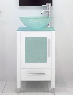 Picture Gallery Website  Soft Focus Single Vessel Sink Vanity Glass White