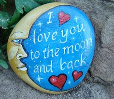 Moon and back-to personalize hand painted by mygardenrocks on etsy. top painted rock art ideas with quotes Pebble Painting, Pebble Art, Stone Painting, Diy Painting, Painting Tricks, Interior Painting, Painting Flowers, Watercolor Painting, Rock Painting Patterns