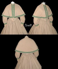 For sale by Victorian Elegance: Mid-1800s. dress is one piece with a matching cape. The dress has a small, stand-up collar and center front hook/eye front closure. Green buttons accent the front however the hook/eyes are the actual closure.  Cape's centre front closure is decorated with green buttons (not working) the front and hem have five (5) bands of green trim.