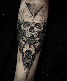 Wolf and skull tattoo by Paulo Victor Skaz