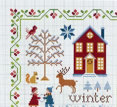 "Samplers by Anna Fields, ""Four Seasons of the Heart"" Cross Stitch House, Cross Stitch Borders, Cross Stitch Samplers, Cross Stitch Charts, Cross Stitch Designs, Cross Stitching, Cross Stitch Embroidery, Cross Stitch Patterns, Theme Noel"