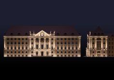 Projekt iluminacji zabytkowego budynku Dyrekcji PKP w Gdańsku. Illumination design of historic Railway Management Center in Gdańsk.