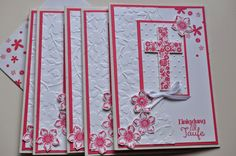 Stampin' Up! ... handmade baptism cards created by mused shine   ... rosy pink and white ... flower cross ... embossing folder textures ...