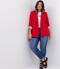Calça Jeans Skinny Curve & Plus Size - Renner Plus Size Blazer, Plus Size Casual, Plus Size Jeans, Curvy Outfits, Cool Outfits, Casual Outfits, Fashion Outfits, Plus Size Dresses, Plus Size Outfits