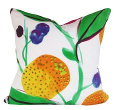 "This Marimekko Fruit Botanical Paratiisi Decorative Pillow Cover, By Japanese Designer Fujiwo Ishimoto, is a Magnificent Modern Throw Pillow, that Showcases the ..""PARATIISI GREEN / WHITE"".. 1996 Print Designer Pattern.  This Pattern Features a Large Scale Botanical Design of Various Mouth Watering Fruits and Berries on Leafy Branches. The Colors are Rich and Vibrant and Include Green, Hot Pink, Orange, Yellow, Purple and Chocolate, Against a White Background, with the Same Fabric on Both…"