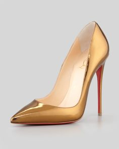 Christian Louboutin So Kate Mirrored Leather Red Sole Pump, Bronze