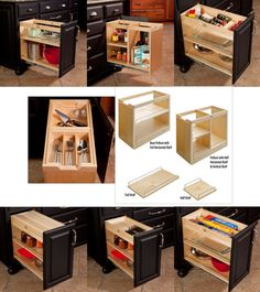 Behind the rough old cabinet doors, smart storage solutions are hiding...