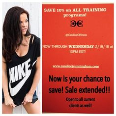 """""""10% off extended! Save now on ALL training programs! Questions?  healthyfitgirlcfitness@gmail.com ! Good to current clients as well! #Fitness #FitGirls…"""""""