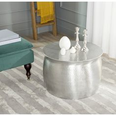 Round Silver Metal Coffee Table On Gray - Coffee Tables Furniture