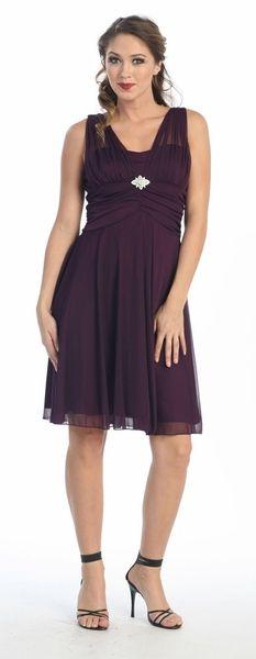 Plum Bridesmaid Dress Knee Length Chiffon Matt Jersey Empire Waist $78.99