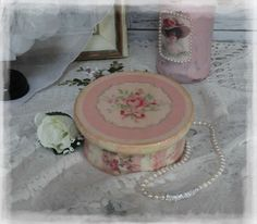 """Victorian ~ Wooden~Vintage~Shabby~Chic Decor~JEWELRY BOX ~ """"Faded Roses..."""""""