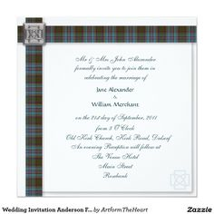 Wedding Invitation Anderson Family Scottish Tartan