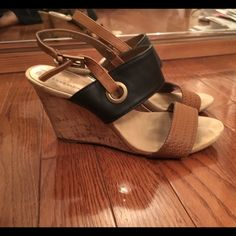 Great wedges for spring and summer! Platform wedges with black and camel color- goes with everything Shoes Wedges
