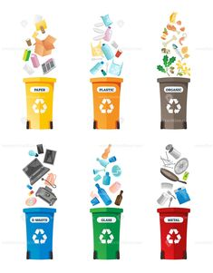 FREE VECTOR #Recycling illustration.  Labeled isolated #waste collection icon set. #Container for #paper, #plastic, #organic, electronic, #glass and metal #rubbish. #Renewable, #sustainable earth #pollution solution.