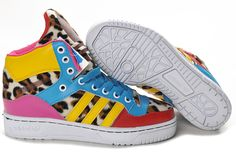 meet 6fcd1 d15bc Jeremy Scott M Attitude Logo Womens Adidas Originals Shoes Leopard Red Blue