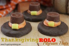 Rolo Pilgram Hat Cookie Recipe – Thanksgiving Kids Food Craft as seen on Rachael Ray. Reuse Halloween Candy, great idea for November or a Fall Party #Recipe #Pilgram #Thanksgiving #RachaelRay http://www.frugalcouponliving.com/2013/11/05/rolo-pilgram-hat-cookie-recipe-thanksgiving-food-craft/