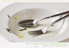 Schmutziges Geschirr schimmelt nicht, wenn man es einfriert
