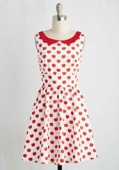 Standing Cultivation Dress. Grove where you wanna go in this whimsical fit and flare! #white #modcloth