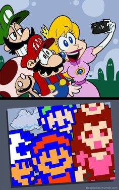 photo Super Mario crew - Nintendo nes bundle with super Mario 1 2 3 Super Mario Bros, Super Mario Kunst, Super Mario Brothers, Super Smash Bros, Video Game Memes, Video Game Art, Mario Und Luigi, Nintendo Game, Sonic Nintendo