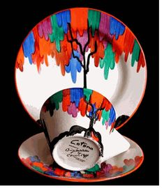 """LATONA TREE Conical Trio cup/saucer/plate) in the Latona Tree pattern. Plate 7 inches wide.  Signed """"Clarice Cliff"""" and """"Bizarre""""."""