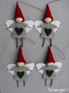 Four little angels for your XMas tree by Tintangel on Etsy, €6.80