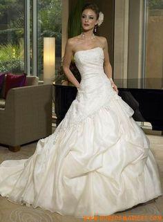 Robe ballon bustier en satin et organdi ornée de broderies et de perles robe de mariée princesse