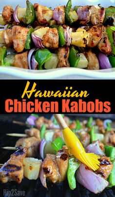 You'll want to grill these delicious sweet and savory pineapple marinated Hawaiian Chicken Kabobs all summer long! Try this easy recipe! Hawaiian Chicken Kabobs, Grilled Chicken Kabobs, Chicken Kabob Recipes, Turkey Recipes, Grilling Recipes, Salad Recipes, Healthy Recipes, Chicken Skewers, Grilled Meat