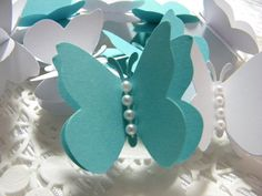 White and Tiffany Blue Butterflies Mix 50 pcs. by TheHouseofDG