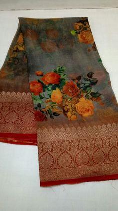 Discover thousands of images about Pure Silk Kora digital print Floral Print Sarees, Saree Floral, Floral Prints, Organza Saree, Cotton Saree, Cotton Silk, Phulkari Saree, Banarsi Saree, Kanjivaram Sarees