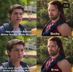 But can you imagine Bucky meeting Peter and thinking 'hm, bull-headed, stubborn kid with a heart of gold and a willingness to die doing what's right— oh dear God, it's Steve all over again! Avengers Humor, Marvel Jokes, Funny Marvel Memes, Dc Memes, Funny Memes, Loki Meme, Marvel Dc Comics, Marvel Heroes, Marvel Characters