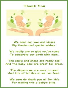 Printable Baby Shower Thank You Poems, From Twins Thank Yous Thru To Thank  Yous From