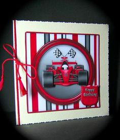 Red Racing Car Birthday or Father s Day Decoupage on Craftsuprint designed by Sandie Burchell - made by Cynthia Massey - Printed onto Crafty Bobs photo paper, decoupaged with foam pads, mounted onto cream deckle edge card blank and to complete this colourful mans card I added a red cord with tassels tied round the spine. - Now available for download!