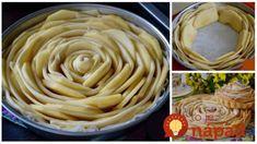 """Ruský jablkový koláč """"Ruža"""": Úžasný točený jablkáč, ktorý na stole ohúri ešte viac, ako drahá torta! Something Sweet, Nutella, Cookie Recipes, Peanut Butter, Food And Drink, Pie, Sweets, Cookies, Baking"""