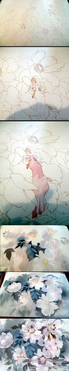 Watercolor or colored pencil flower fairy