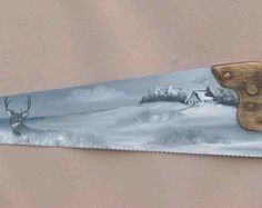 Hand Painted Handsaw – Winter Scene With A Deer And Cabin, Painted In Black And White,Signed