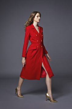 Plakinger Red Wool Double Breasted Coat